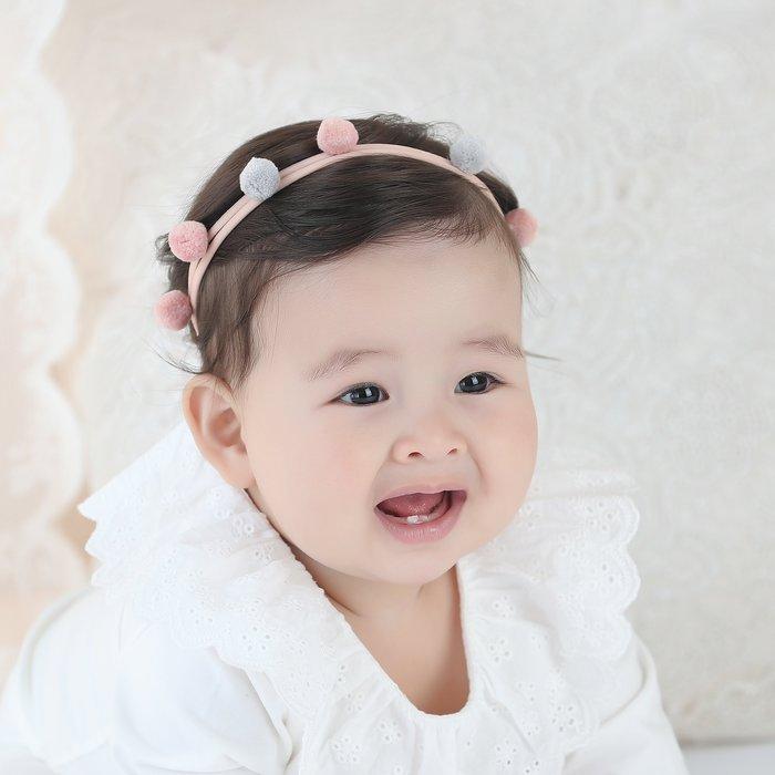 ☆草莓花園☆B58兒童髮帶 清新小球球 兒童髮飾  百天照頭飾 嬰兒髮帶 髮冠 皇冠 造型周歲照 藝術照