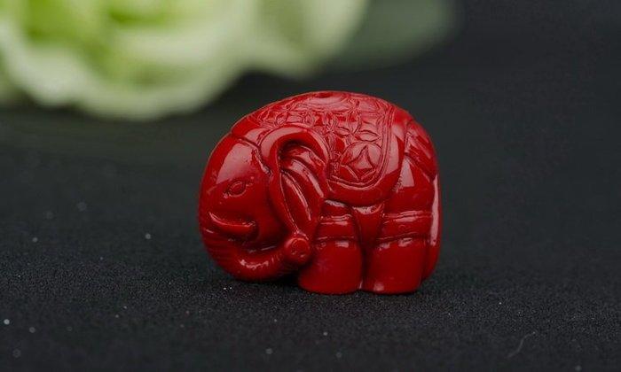 「還願佛牌」天然硃砂 大象 佛牌鏈 配件 隔珠 小象 大象 DIY 手工串珠