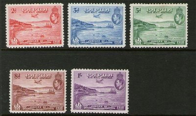 【雲品】巴布亞新幾內亞Papua New Guinea 1938 Air mail SG 158-162 or Sc C5-C9 MH 庫號#67493