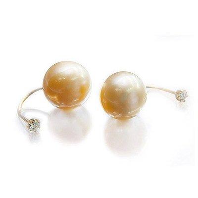 【JHT 金宏總珠寶/GIA鑽石專賣】0.05ct/0.06ct鑽石黃金珠耳環/材質:18K/(JB42-A42)