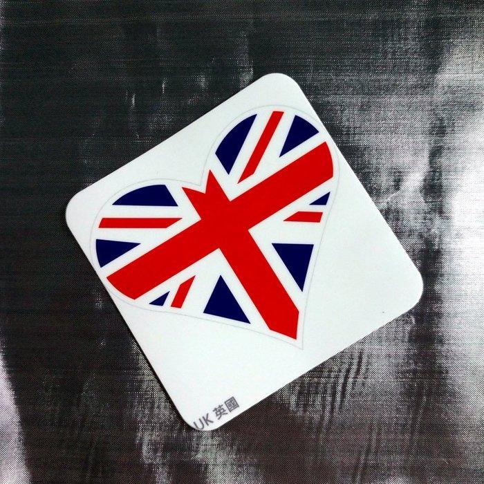 【衝浪小胖】英國旗抗UV、防水尖角心形登機箱貼紙/UK