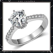(直購價非活動價) EOS 時尚精品 925純銀品牌經典款大氣2克拉CZ鑽石婚戒   婚戒GIA對戒求婚戒 促銷價 明星