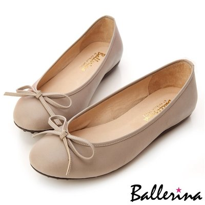 Ballerina-MIT全真皮蝴蝶結柔軟豆豆鞋-灰【BS600003AY】