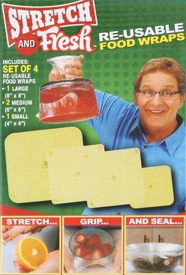 Stretch and Fresh 4件套矽膠食品碗蓋 彈力保鮮膜 重複使用保鮮膜 矽樹脂 密封食物保鮮 可水洗 環保