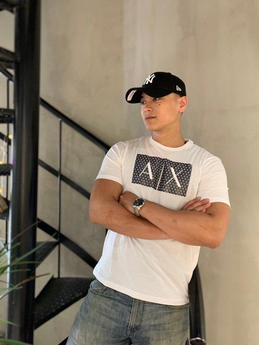 【蟹老闆】AX Armani Exchange 男短袖 藍色三宅一生 白色