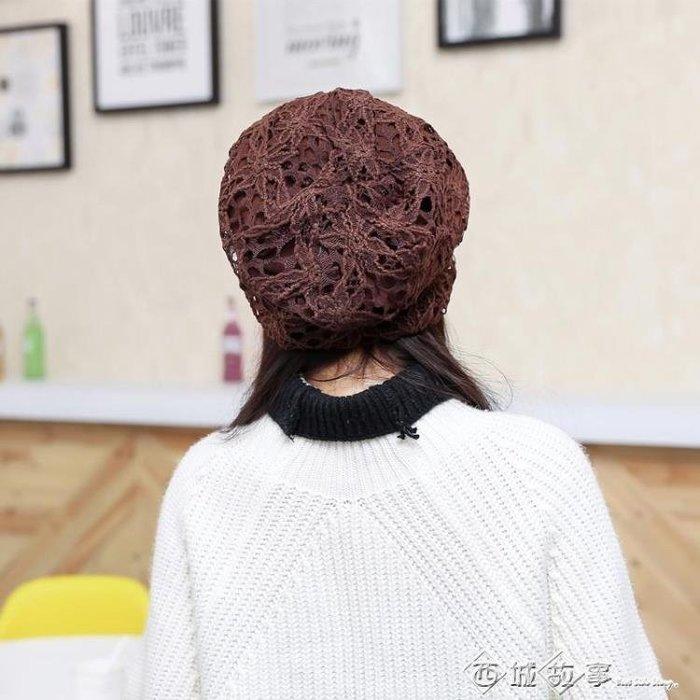 (免運)帽子女春秋蕾絲蝴蝶花朵月子套頭帽化療帽女薄空調休閒包頭孕婦帽【莉芙小鋪】
