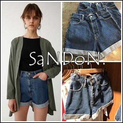 SaNDoN x『MOUSSY』夏季素面好搭配 實拍 復古百搭捲管高腰牛仔短褲 SLY 韓妮 180501