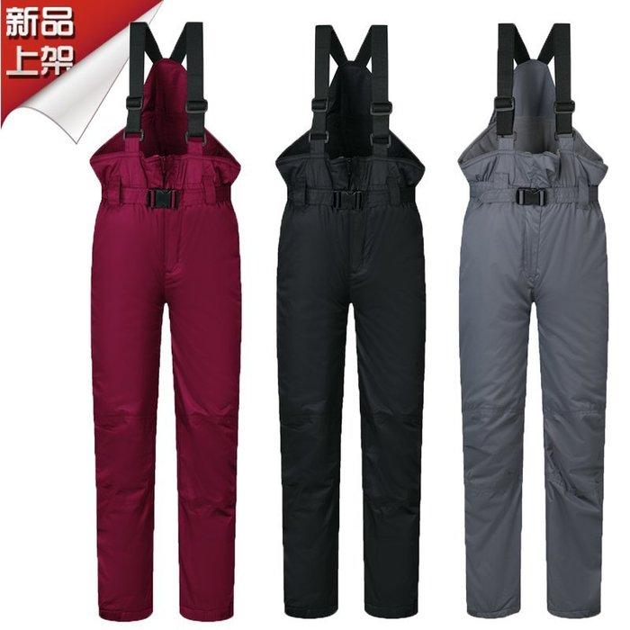 東大門平價鋪  男女童戶外防水透氣背帶滑雪褲,中大童加厚保暖棉褲   抗-30度