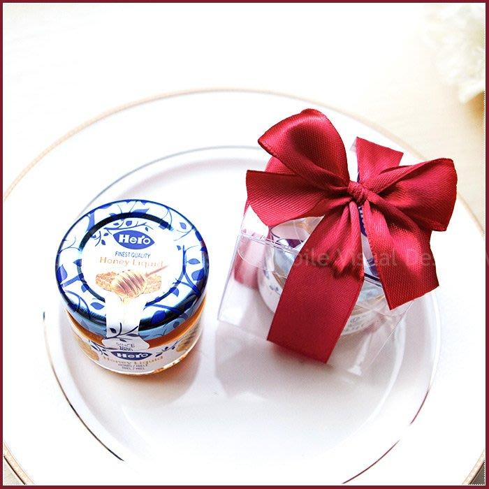 幸福朵朵【甜蜜蜜「透明盒裝」瑞士進口hero蜂蜜小禮盒(紅色緞帶)】送客禮贈品/婚禮小物