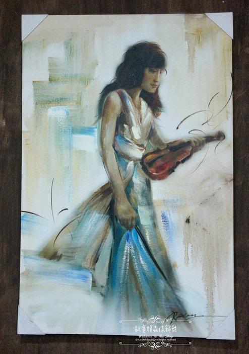 ~*~歐室精品傢飾館~*~鄉村風格 手工 繪製 工筆 油畫 樂者 演奏 小提琴 無框畫 掛畫 掛圖 壁飾~新款上市~