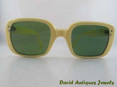 ((天堂鳥)) 復古60年代象牙黃鏡架綠鏡片太陽眼鏡|不二價