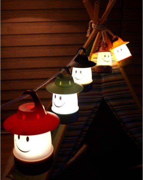 ☆恩祐小舖- 日系 微笑兒童帳篷燈 露營燈 油燈 緊急照明節能燈 床頭小夜燈 氣氛小掛燈 5色 @ 【生活系列】