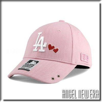 【PD帽饰】【ANGEL NEW ERA 】 MLB Old Fashioned Cap  道奇 LA  粉紅 老帽  愛心 人字布