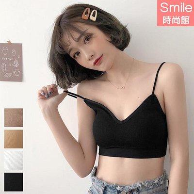 【V2850】SMILE- 百搭親膚.細肩細坑條V領小可愛上衣