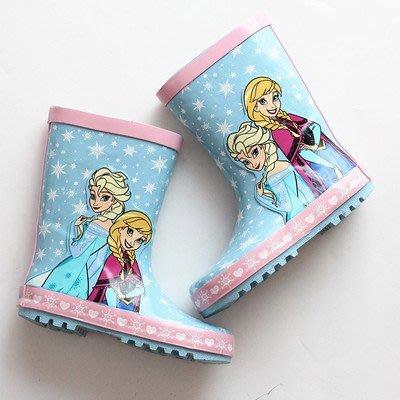 冰雪奇缘外貿女童雨靴爱莎公主兒童防滑雨...