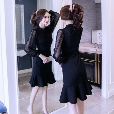 秋裝女新款氣質顯瘦黑色蕾絲裙小禮服女人味包臀魚尾連衣裙冬洋裝   全館免運