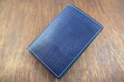 『阿皮手工』護照夾~蜥蜴皮紋深藍+土耳其藍