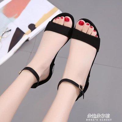 夏季新款平底低跟平跟包跟女涼鞋腳腕綁帶舒適女鞋孕婦學生鞋