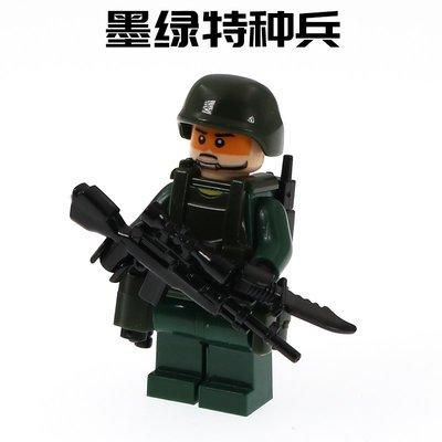 高積木 特種兵1E 墨綠色特種兵 鋼盔 步槍 戰術背心 配刀 士兵 軍事二戰 特種部隊 SWAT 非樂高LEGO