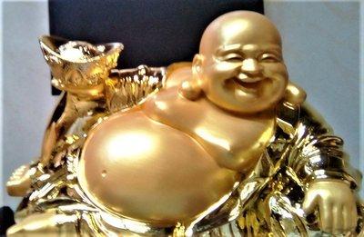@居士林@招財進寶-彌勒佛-財神.鍍金冷磁銅材質(坐姿)尺寸:高18.5公分.面寬31.5公分.重量約2公斤
