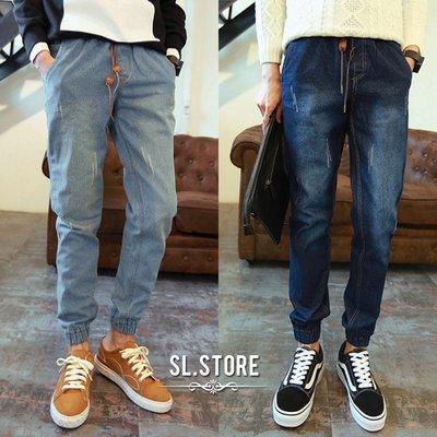 SL Store【CJD021】水洗抓痕皮環拉繩牛仔單寧縮口褲.水洗刷色/牛仔藍/M/L/XL/2XL