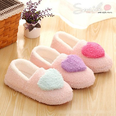 【X032】SMILE-冬季必備.秋冬季居家室內保暖絨面軟底愛心棉包鞋