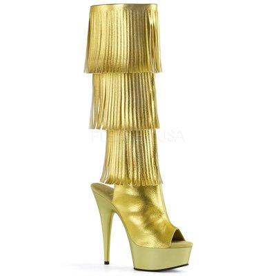 Shoes InStyle《六吋》美國品牌 PLEASER 原廠正品流蘇厚底高跟魚口及膝中長筒馬靴 出清『金色』