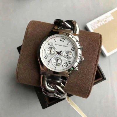 Michael Kors MK3149 極簡時尚 銀色女錶三眼計時手鍊式 手錶腕錶/正品