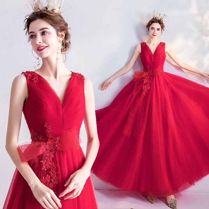 妞妞 婚紗禮服~玫瑰蕾絲花風情萬種宴會婚纱長禮服~3件免郵