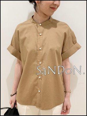 山東: Spick and Span 各一件 珍珠扣涼爽材質植物纖維設計亨利領寬袖設計顯瘦襯衫 200811