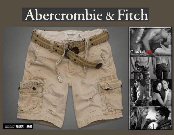 有型男~ A&F Abercrombie&Fitch 工作短褲 Cargo Shorts卡其 有腰帶 W32 W34