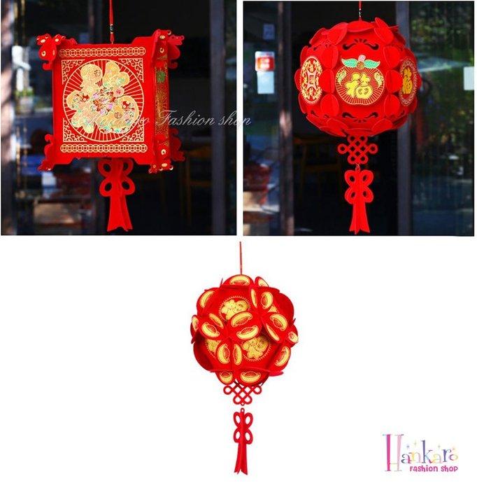 ☆[Hankaro]☆ 春節系列商品精緻燙金植絨DIY燈籠掛飾系列
