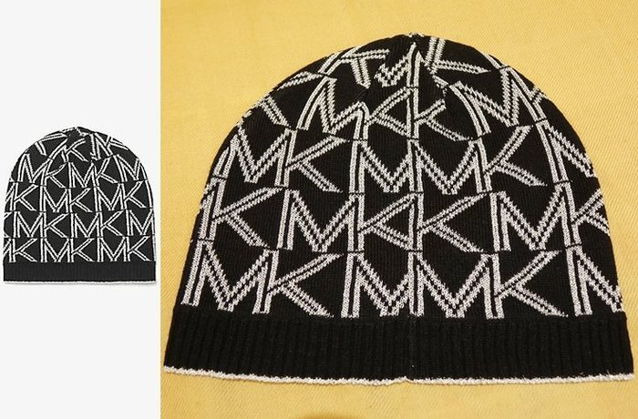 大降價!全新 Michael Kors MK 高質感金蔥黑白 LOGO 設計針織帽!低價起標無底價!本商品免運費!