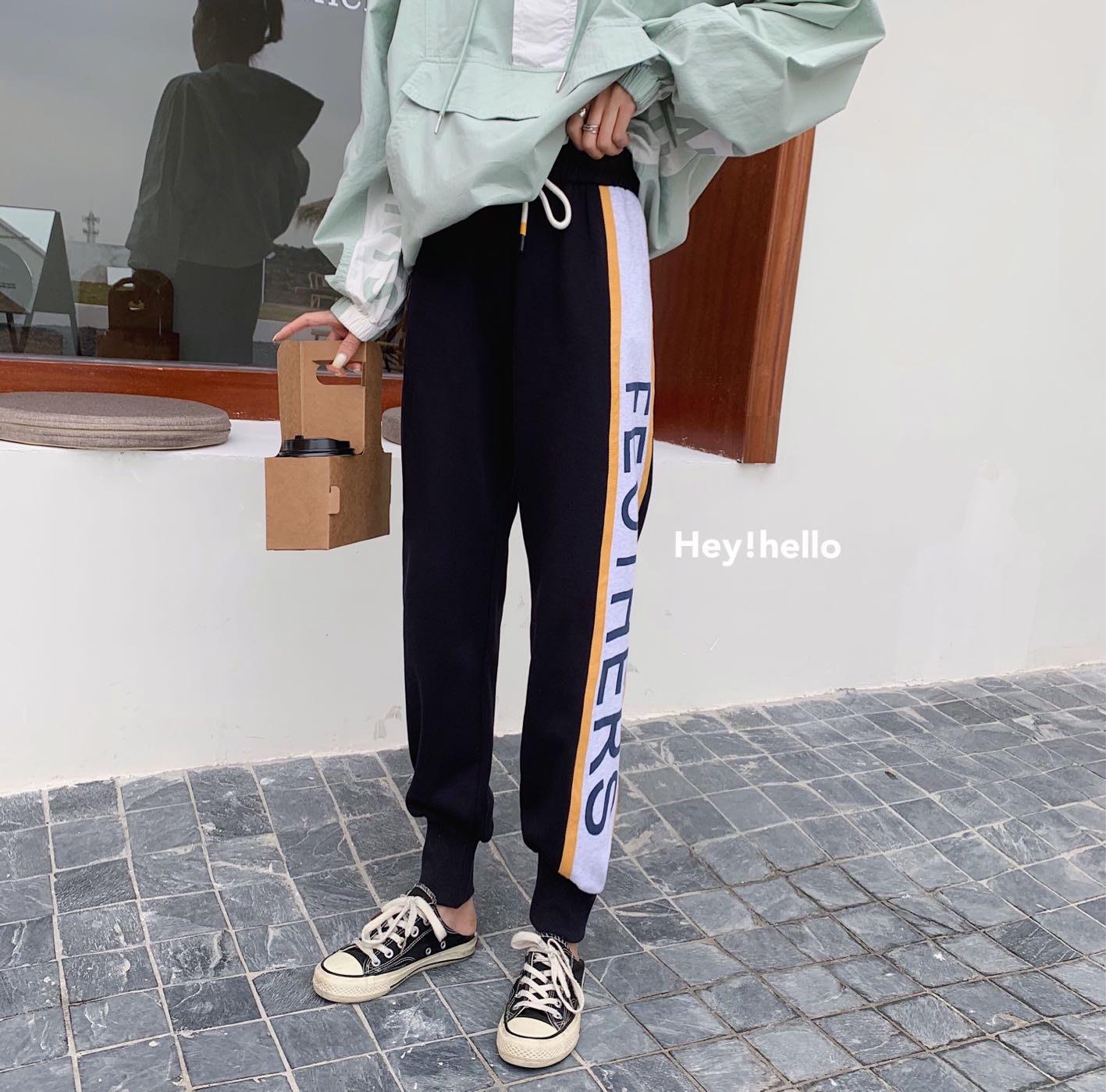 (現貨)韓國春夏寬鬆運動休閒束口長褲