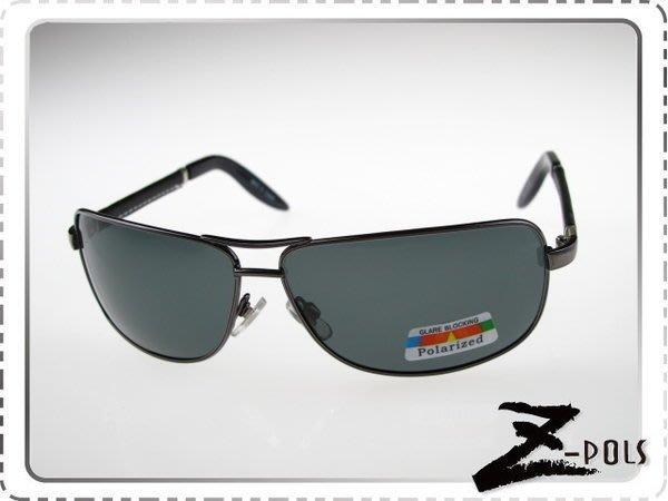 【Z-POLS全新設計頂級名牌風格款】金屬帥氣流行復古頂級偏光皮革腳太陽眼鏡