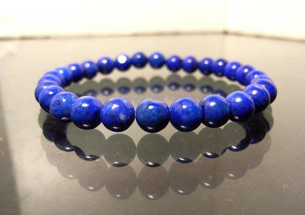 小風鈴~精選頂級天然寶藍色青金石圓珠手鍊6.5mm~淨重9.2g