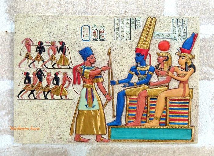 點點蘑菇屋 歐洲進口~埃及犯人與判官岩磚壁飾 壁掛 掛飾 古埃及文明 埃及古文 圖騰 精緻飾品 藝術品 現貨