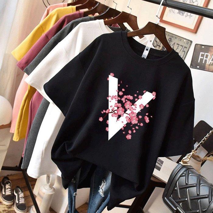 ❤Princess x Shop❤V字櫻花短袖寬鬆圓領短袖T恤TM29-29-1韓國同款女裝