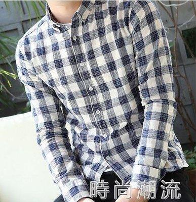 ZIHOPE 格紋襯衫春季透氣休閒修身襯衣男士青年長袖淺色格子襯衫日系格紋薄款寸衫ZI812