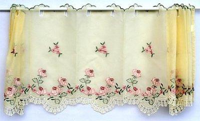 ~蘇菲亞精品傢飾~典雅黃色玫瑰園刺繡窗紗/門簾/裝飾簾/大特價