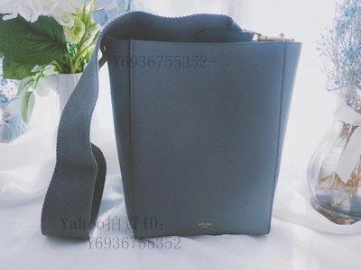 Simon二手正品 CELINE SANGLE  霧霾藍 小號 25cm 水桶包 斜跨 肩背 顏值高