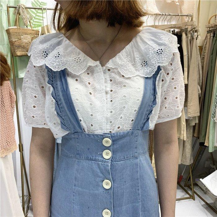 創意夏季服飾 蕾絲衫  T恤白色繡花蕾絲荷葉領短袖襯衫女夏裝新款韓范寬松學生襯衣開衫上衣