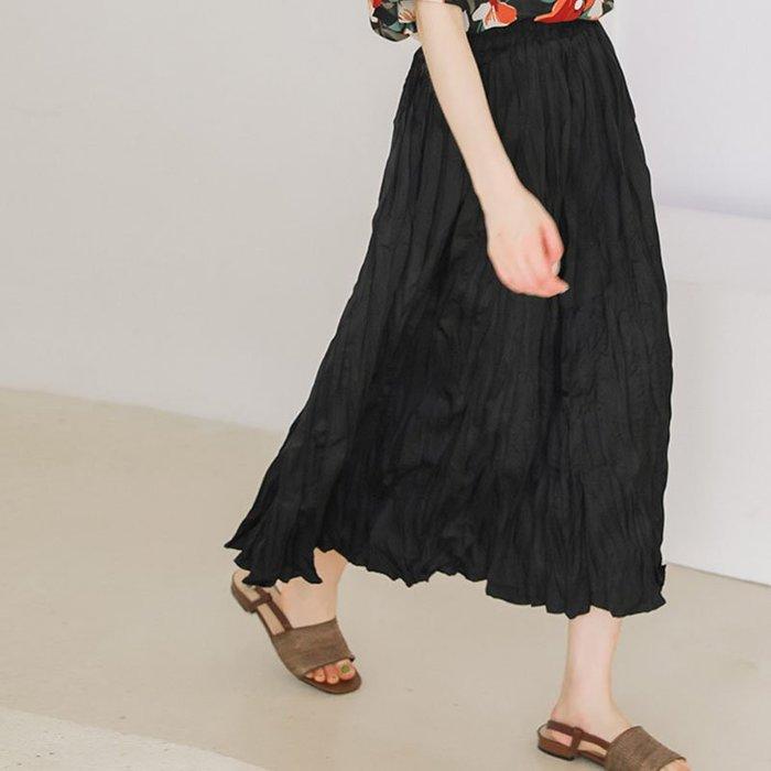 SeyeS MINI 復古率性韓系女孩抓皺半身裙
