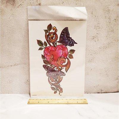 【萌古屋】愛心寶石蝴蝶手臂大圖 - 男女防水紋身貼紙刺青貼紙WS-B037 K29