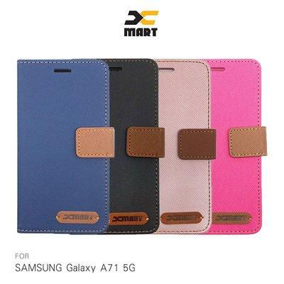 強尼拍賣~XMART SAMSUNG A71 5G 斜紋休閒皮套  掀蓋 可立 插卡 磁扣