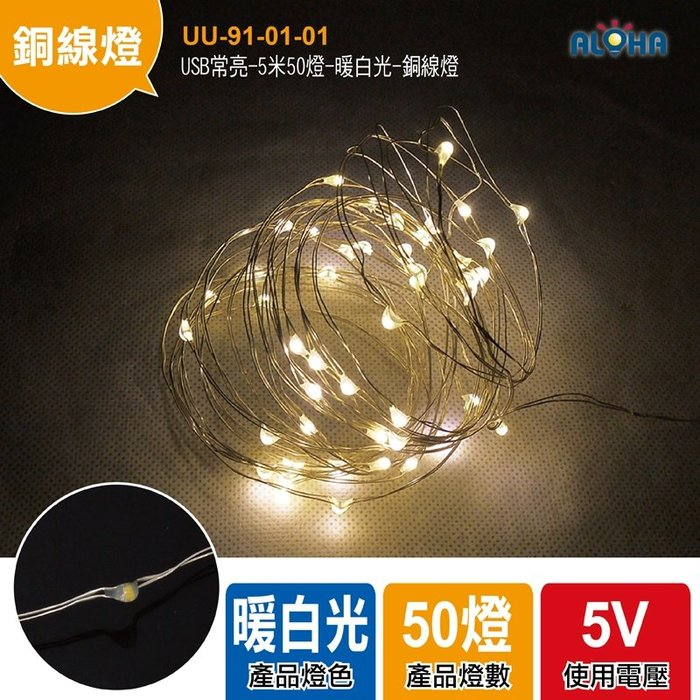 阿囉哈LED大賣場 led線燈【UU-91-01-01】USB常亮-5米50燈-暖白光-銅線燈 聖誕裝飾燈DIY勞作