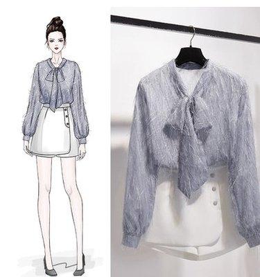2019早春韓版系帶蝴蝶很仙的雪紡衫毛毛流蘇上衣洋氣蕾絲衫襯衫女