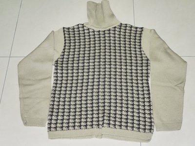 二手美品~格紋圖案高領毛衣 M號