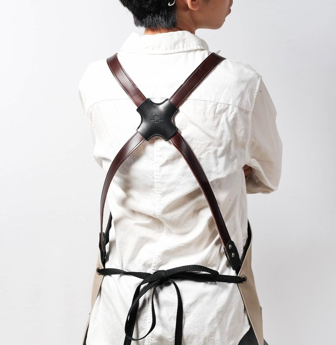 【點子包】手工工作圍裙(油蠟肩掛式) 簡約灰/單寧藍/軍綠色/卡其色 DG01N