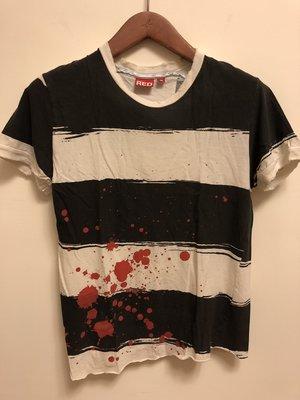 LEVIS RED 日本版紅標系列 條紋潑墨 不對襯上衣 領口不收邊破壞S號 LVC